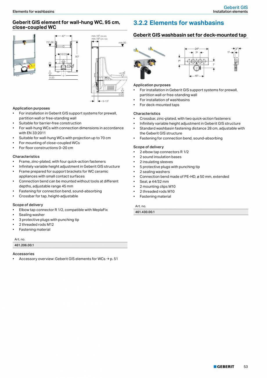 Pagina 53 - Sisteme sanitare Geberit 2015-2016 GEBERIT Kombifix, Duofix, DuoFresh, Monolith,...