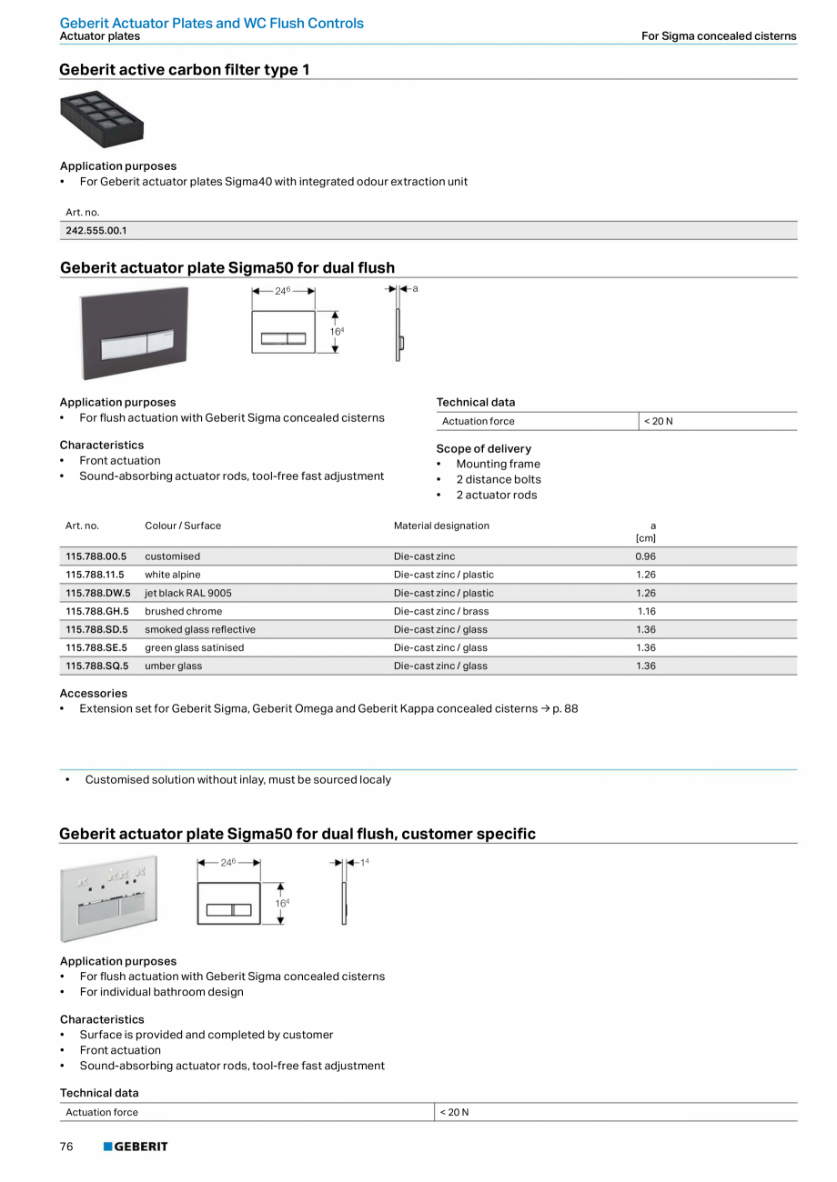 Pagina 76 - Sisteme sanitare Geberit 2015-2016 GEBERIT Kombifix, Duofix, DuoFresh, Monolith,...