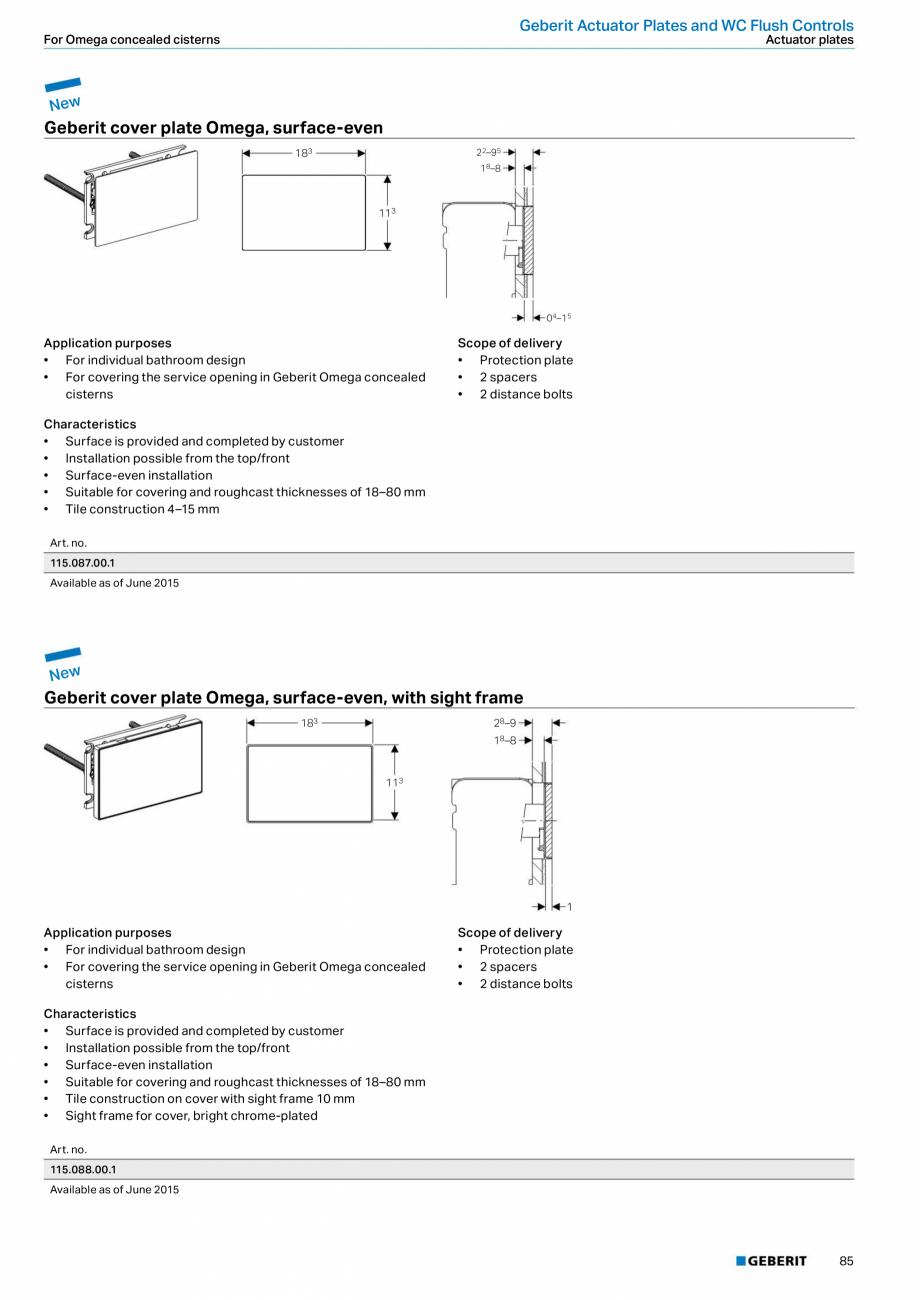Pagina 85 - Sisteme sanitare Geberit 2015-2016 GEBERIT Kombifix, Duofix, DuoFresh, Monolith,...