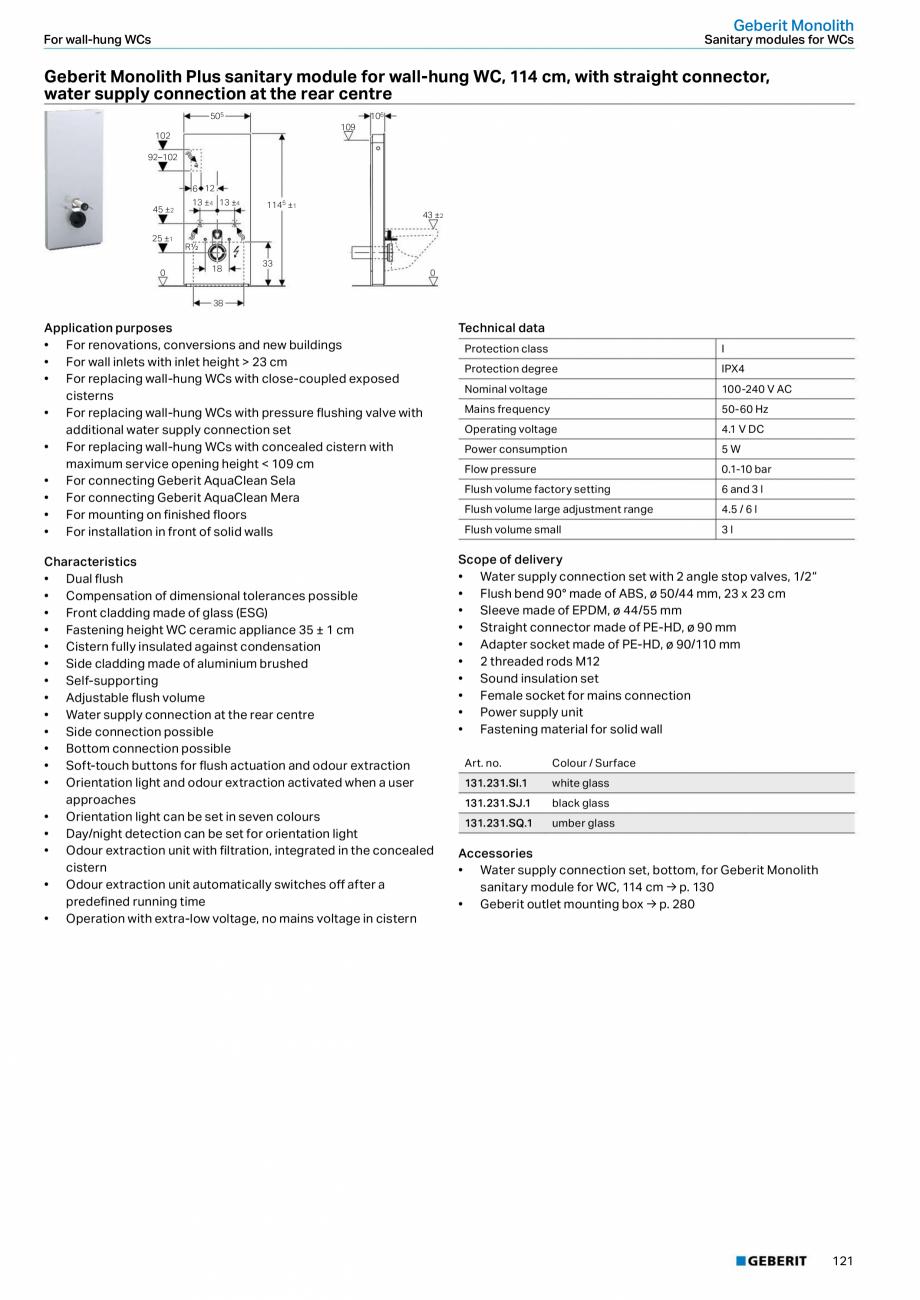 Pagina 121 - Sisteme sanitare Geberit 2015-2016 GEBERIT Kombifix, Duofix, DuoFresh, Monolith,...