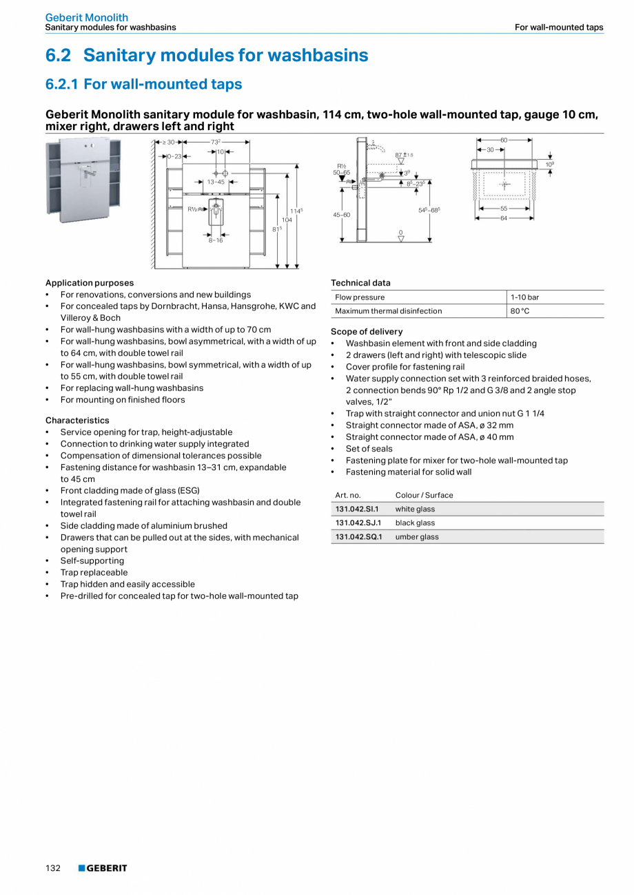 Pagina 132 - Sisteme sanitare Geberit 2015-2016 GEBERIT Kombifix, Duofix, DuoFresh, Monolith,...