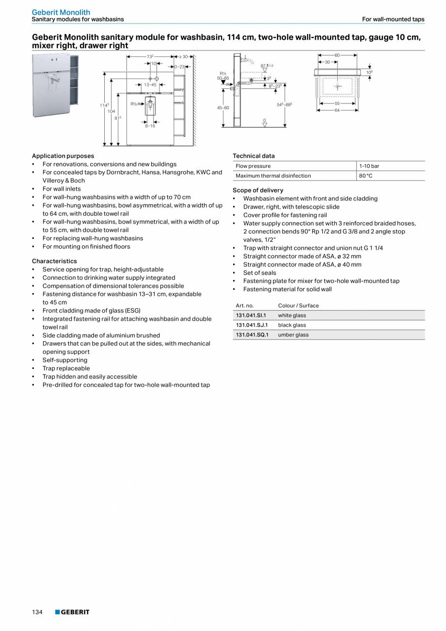 Pagina 134 - Sisteme sanitare Geberit 2015-2016 GEBERIT Kombifix, Duofix, DuoFresh, Monolith,...