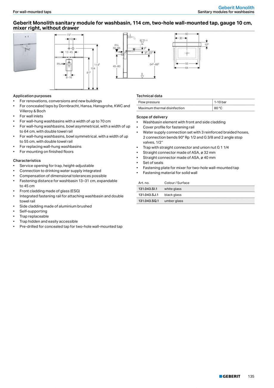 Pagina 135 - Sisteme sanitare Geberit 2015-2016 GEBERIT Kombifix, Duofix, DuoFresh, Monolith,...