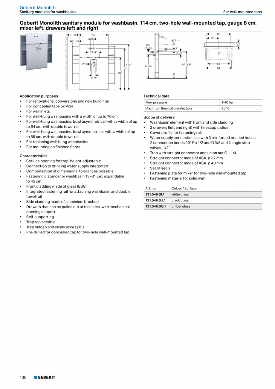 Pagina 136 - Sisteme sanitare Geberit 2015-2016 GEBERIT Kombifix, Duofix, DuoFresh, Monolith,...