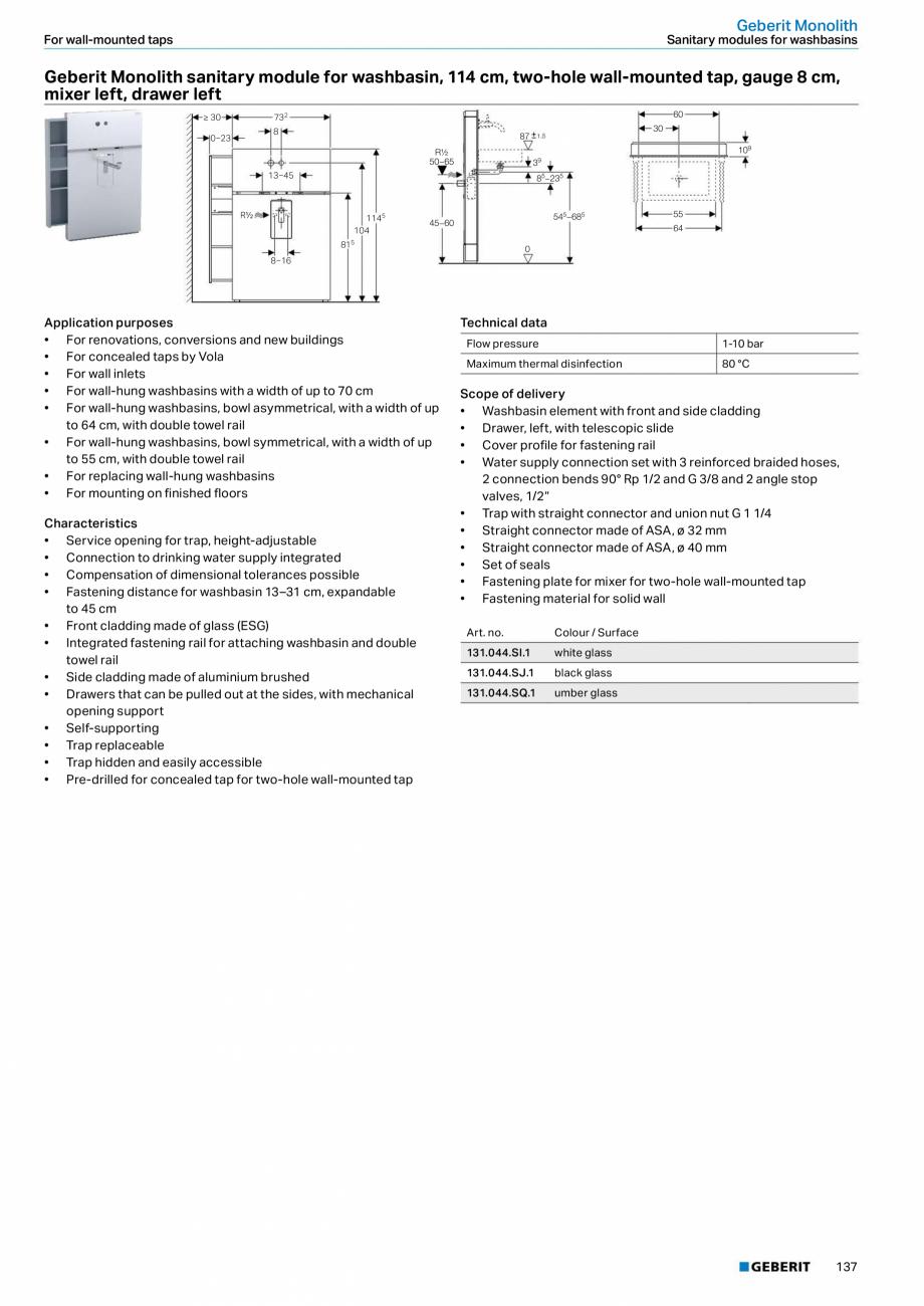 Pagina 137 - Sisteme sanitare Geberit 2015-2016 GEBERIT Kombifix, Duofix, DuoFresh, Monolith,...