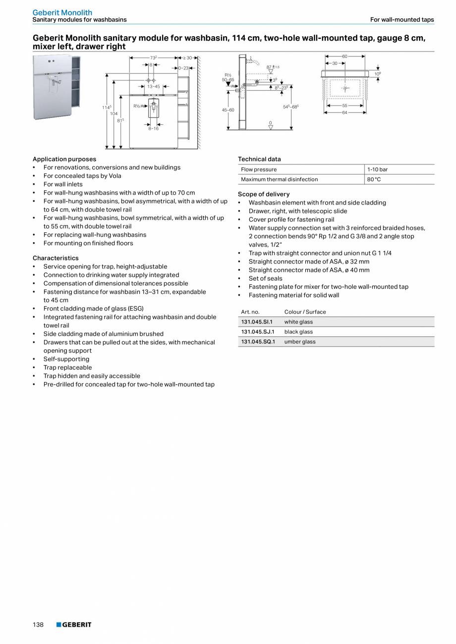 Pagina 138 - Sisteme sanitare Geberit 2015-2016 GEBERIT Kombifix, Duofix, DuoFresh, Monolith,...