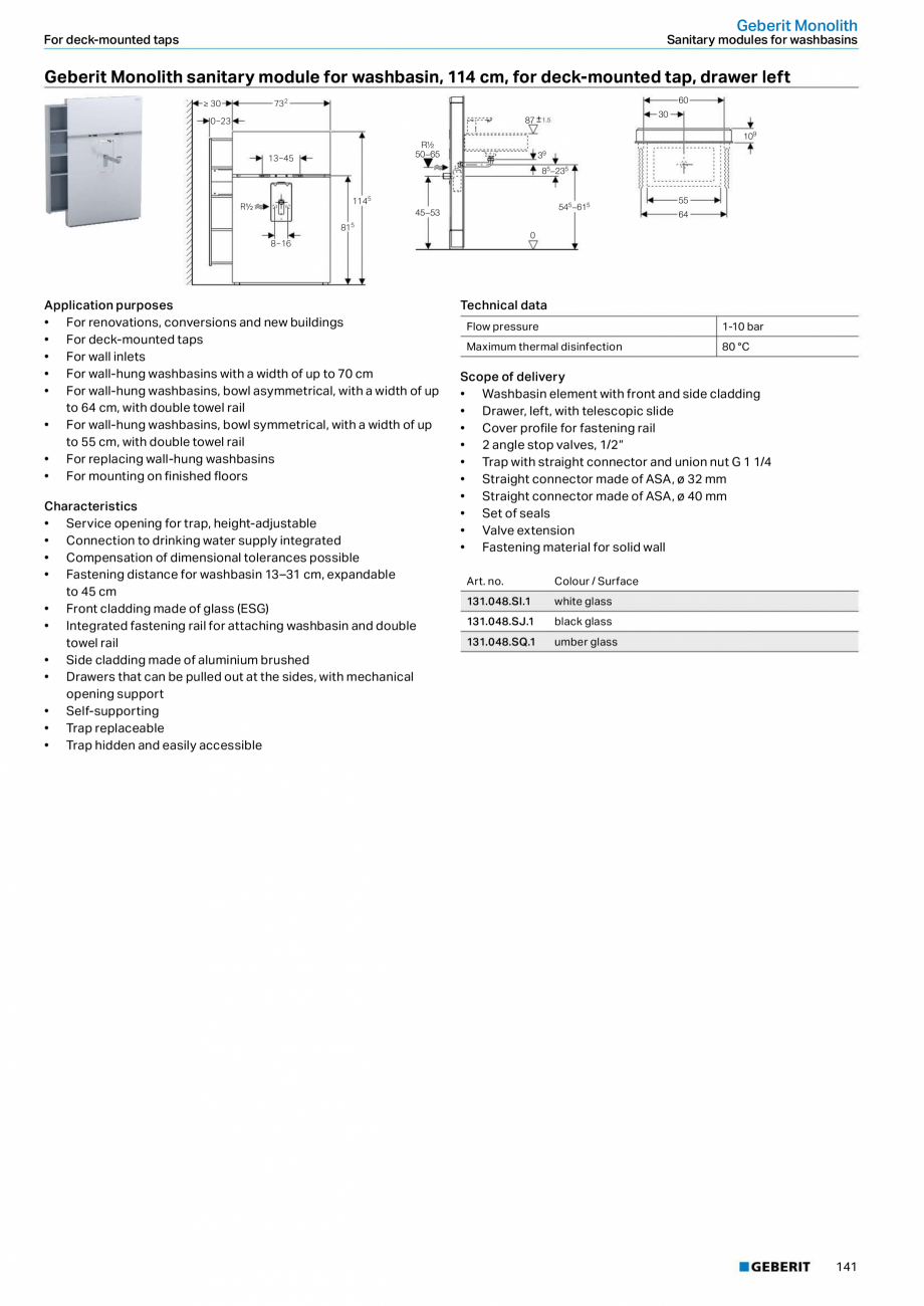 Pagina 141 - Sisteme sanitare Geberit 2015-2016 GEBERIT Kombifix, Duofix, DuoFresh, Monolith,...