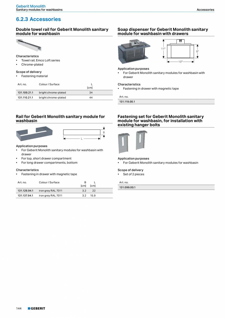 Pagina 144 - Sisteme sanitare Geberit 2015-2016 GEBERIT Kombifix, Duofix, DuoFresh, Monolith,...