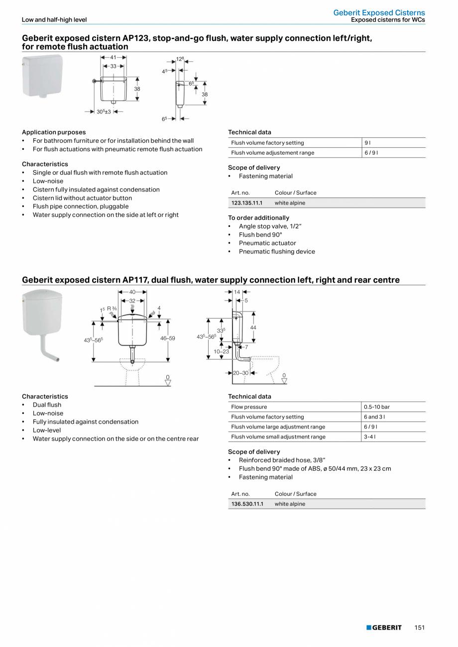 Pagina 151 - Sisteme sanitare Geberit 2015-2016 GEBERIT Kombifix, Duofix, DuoFresh, Monolith,...