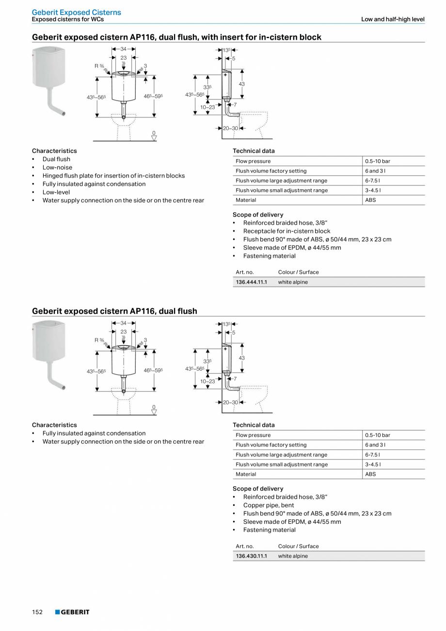 Pagina 152 - Sisteme sanitare Geberit 2015-2016 GEBERIT Kombifix, Duofix, DuoFresh, Monolith,...