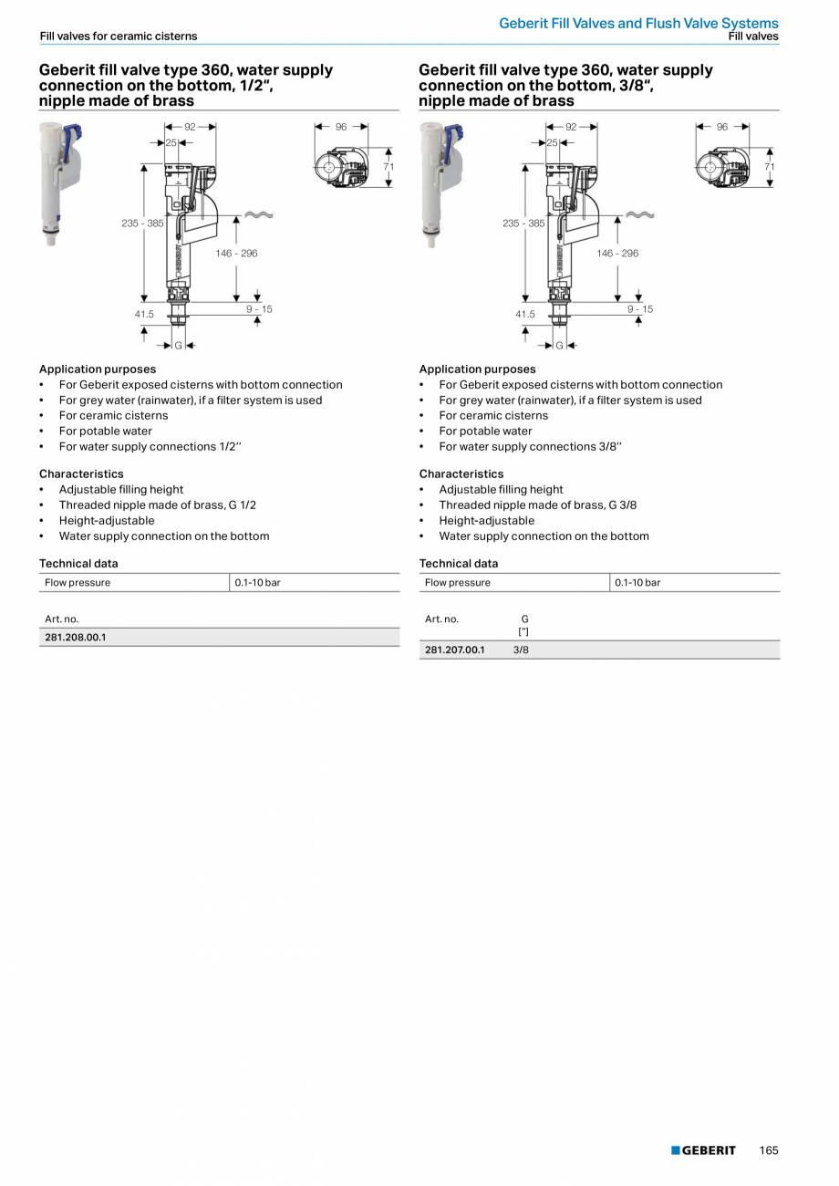 Pagina 165 - Sisteme sanitare Geberit 2015-2016 GEBERIT Kombifix, Duofix, DuoFresh, Monolith,...