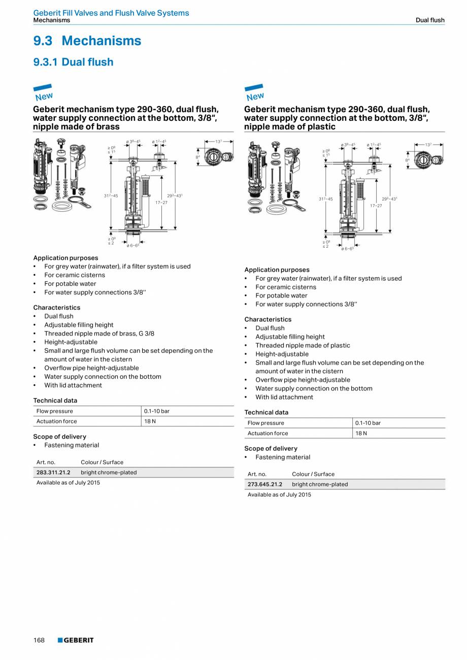 Pagina 168 - Sisteme sanitare Geberit 2015-2016 GEBERIT Kombifix, Duofix, DuoFresh, Monolith,...