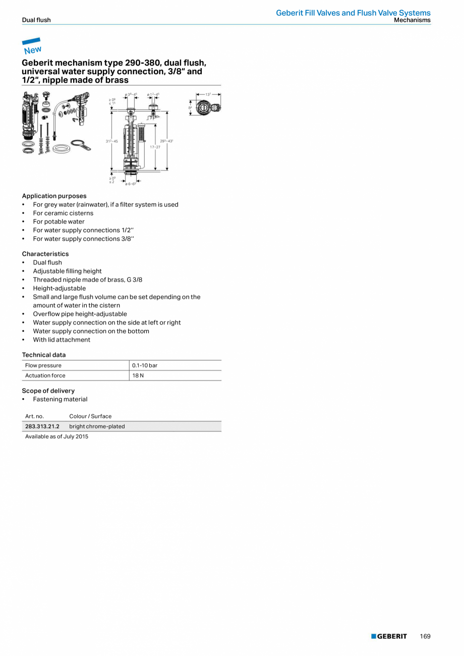 Pagina 169 - Sisteme sanitare Geberit 2015-2016 GEBERIT Kombifix, Duofix, DuoFresh, Monolith,...