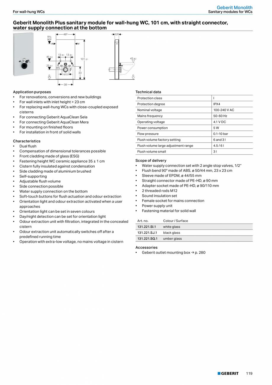 Pagina 3 - Modul sanitar pentru WC GEBERIT Monolith Fisa tehnica Engleza   13−45  R½  1145 104 ...