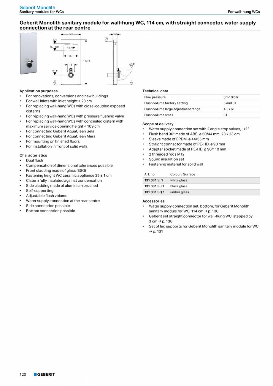 Pagina 4 - Modul sanitar pentru WC GEBERIT Monolith Fisa tehnica Engleza f dimensional tolerances...