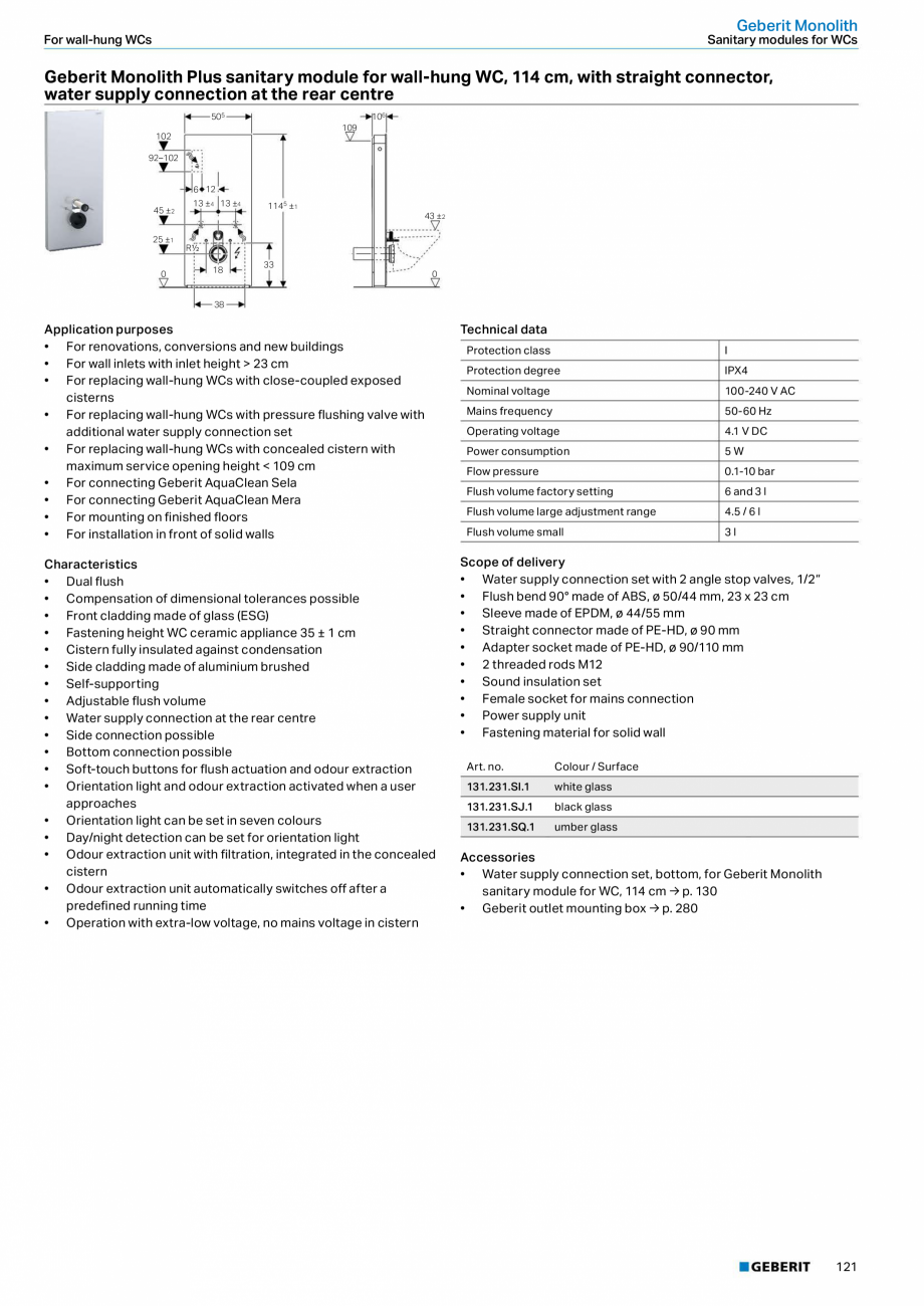 Pagina 5 - Modul sanitar pentru WC GEBERIT Monolith Fisa tehnica Engleza rit Monolith  For wall-hung...