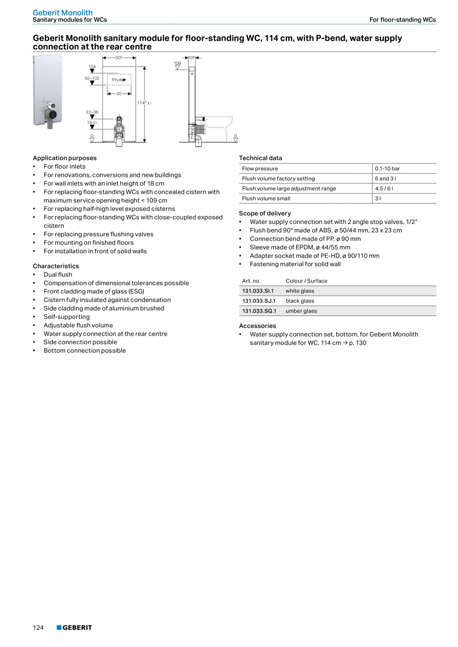 Pagina 8 - Modul sanitar pentru WC GEBERIT Monolith Fisa tehnica Engleza ting Geberit AquaClean Sela...