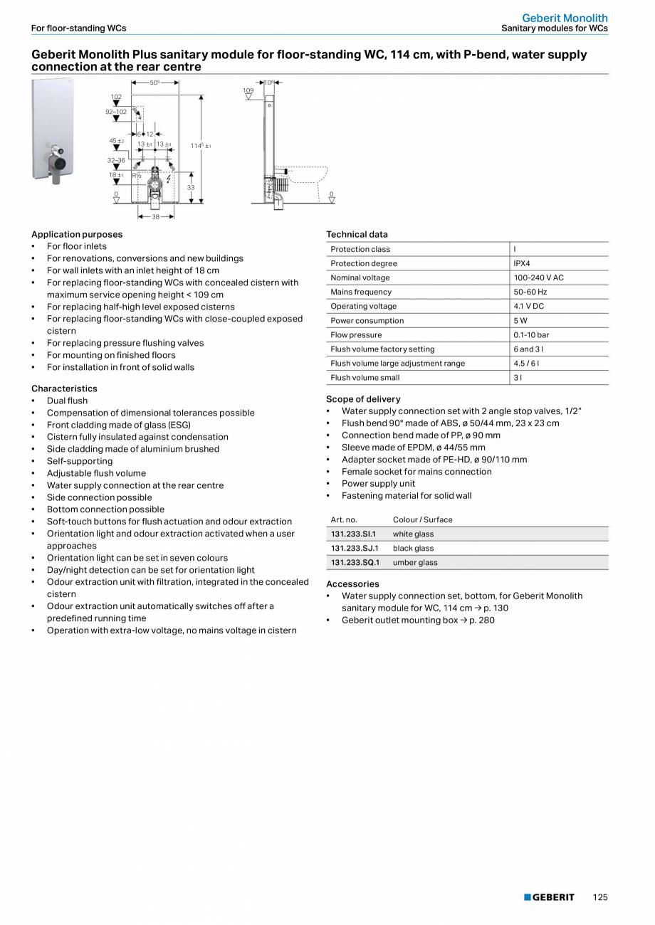 Pagina 9 - Modul sanitar pentru WC GEBERIT Monolith Fisa tehnica Engleza 0/110 mm • 2 threaded...