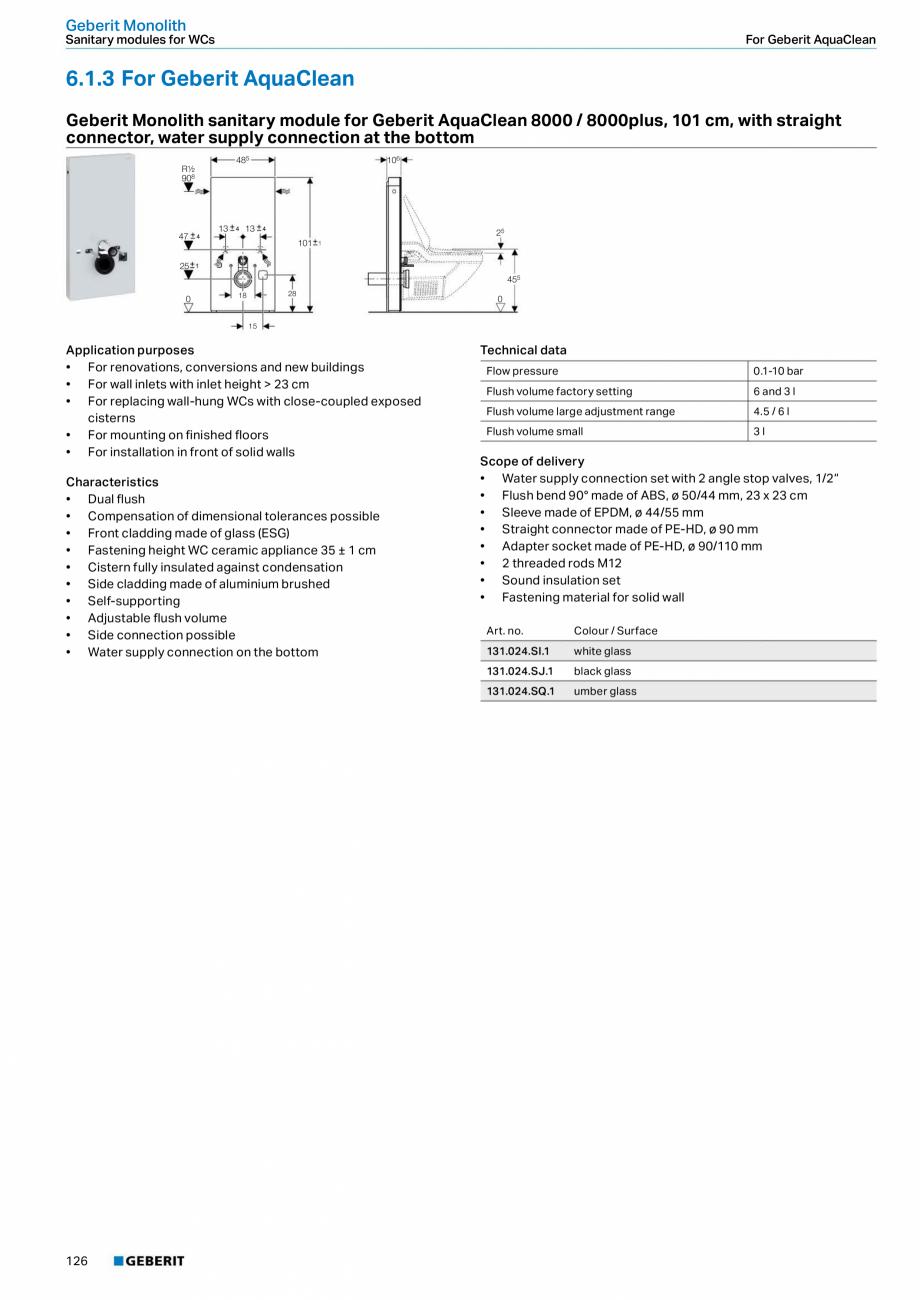 Pagina 10 - Modul sanitar pentru WC GEBERIT Monolith Fisa tehnica Engleza h pressure flushing valve ...