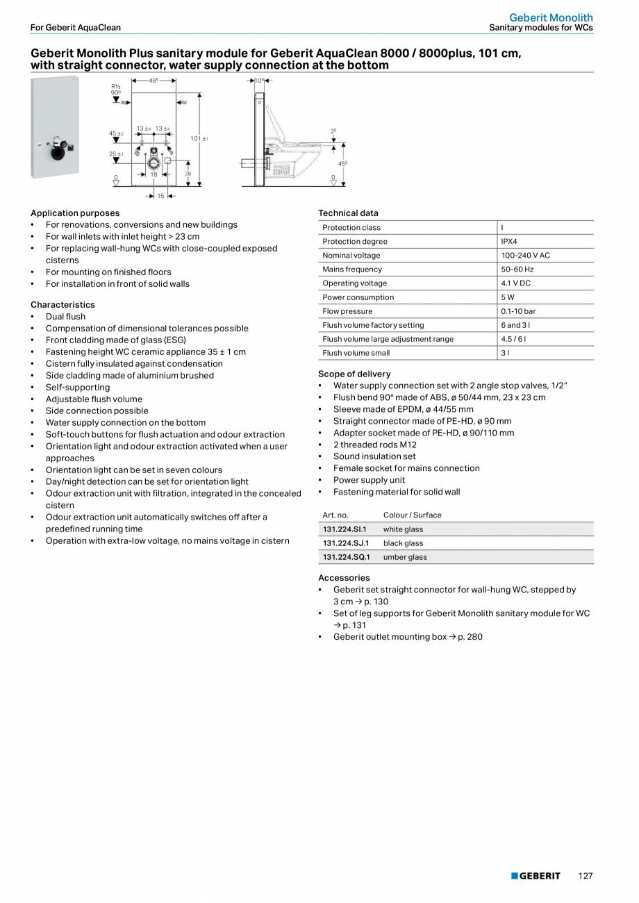 Pagina 11 - Modul sanitar pentru WC GEBERIT Monolith Fisa tehnica Engleza for orientation light • ...