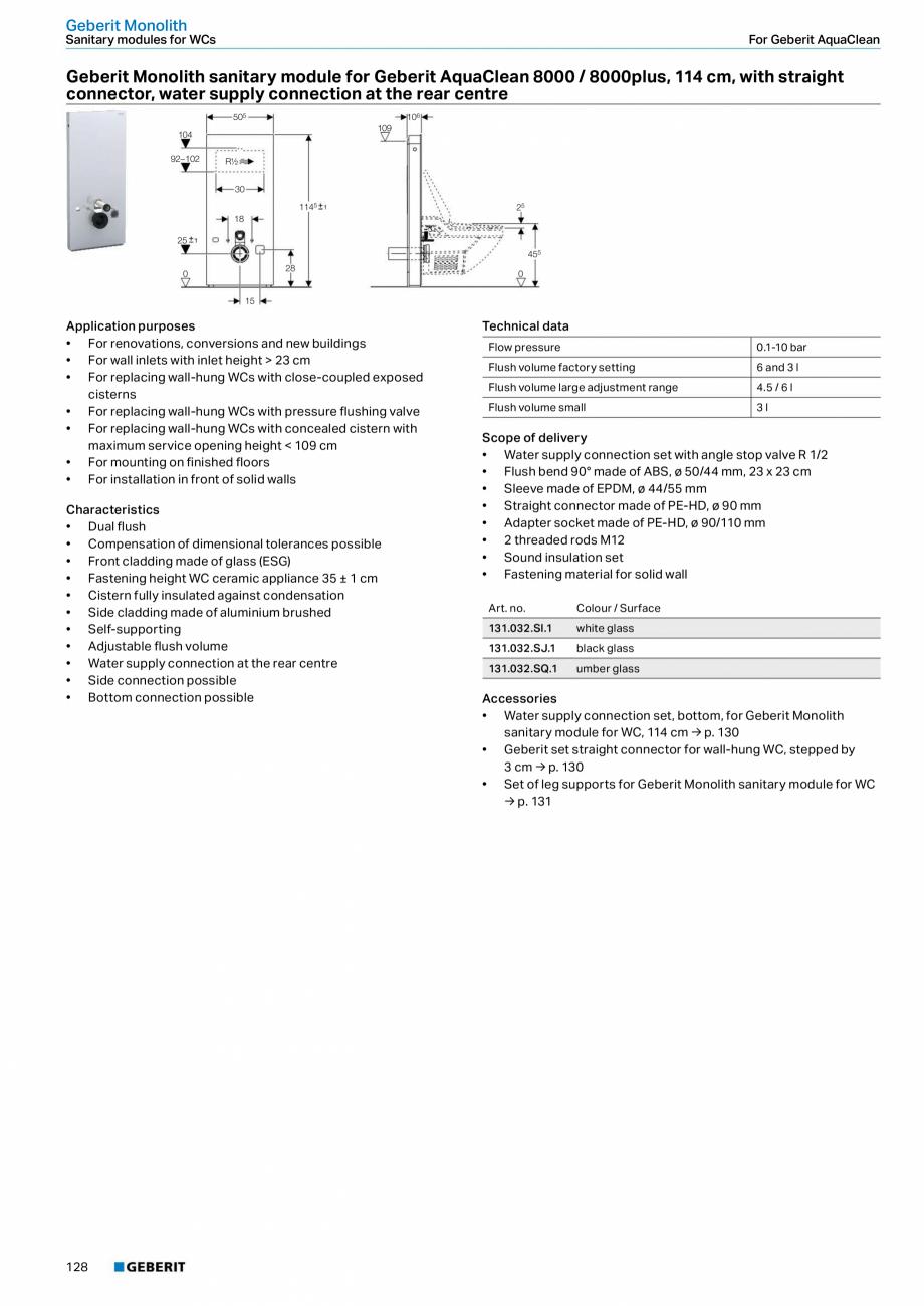 Pagina 12 - Modul sanitar pentru WC GEBERIT Monolith Fisa tehnica Engleza .231.SI.1  white glass ...