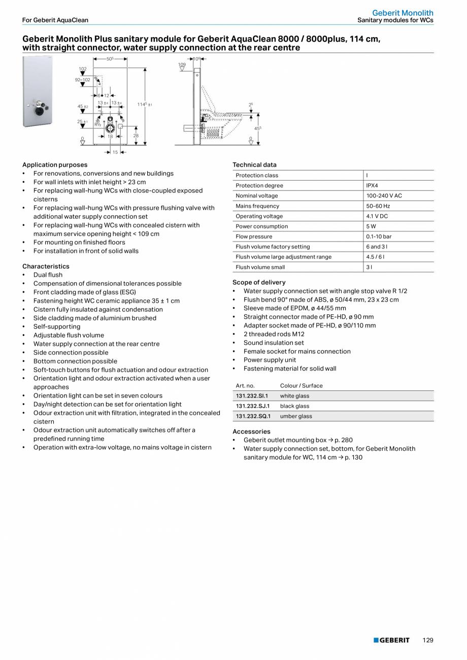 Pagina 13 - Modul sanitar pentru WC GEBERIT Monolith Fisa tehnica Engleza � Dual flush •...