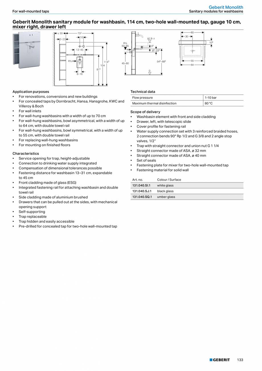 Pagina 17 - Modul sanitar pentru WC GEBERIT Monolith Fisa tehnica Engleza g on finished floors •...