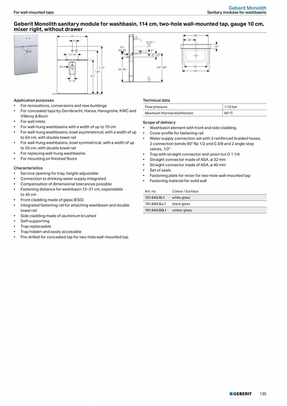 Pagina 19 - Modul sanitar pentru WC GEBERIT Monolith Fisa tehnica Engleza requency  50-60 Hz ...