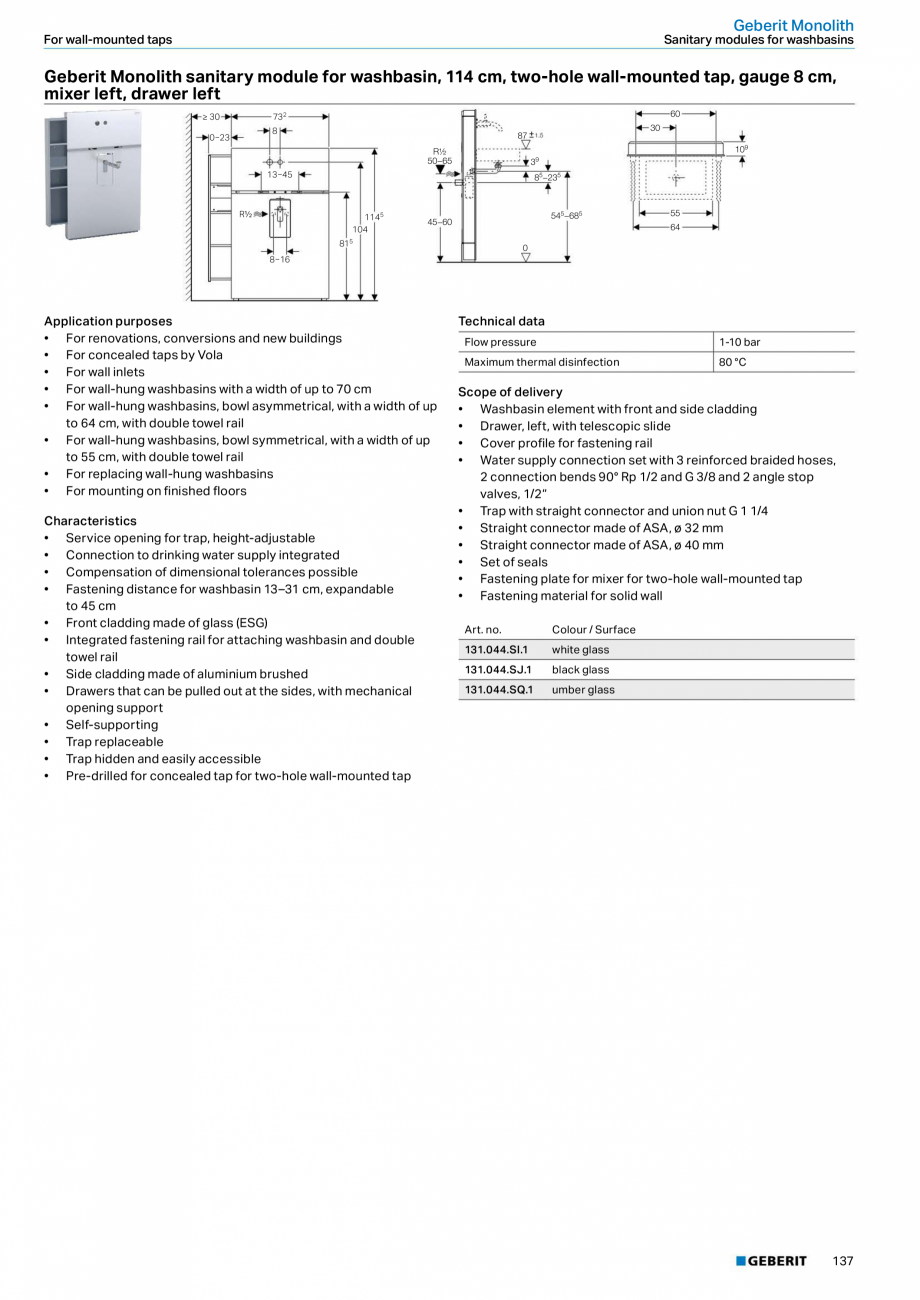 Pagina 21 - Modul sanitar pentru WC GEBERIT Monolith Fisa tehnica Engleza 01  25 455 0  28  18  0 ...