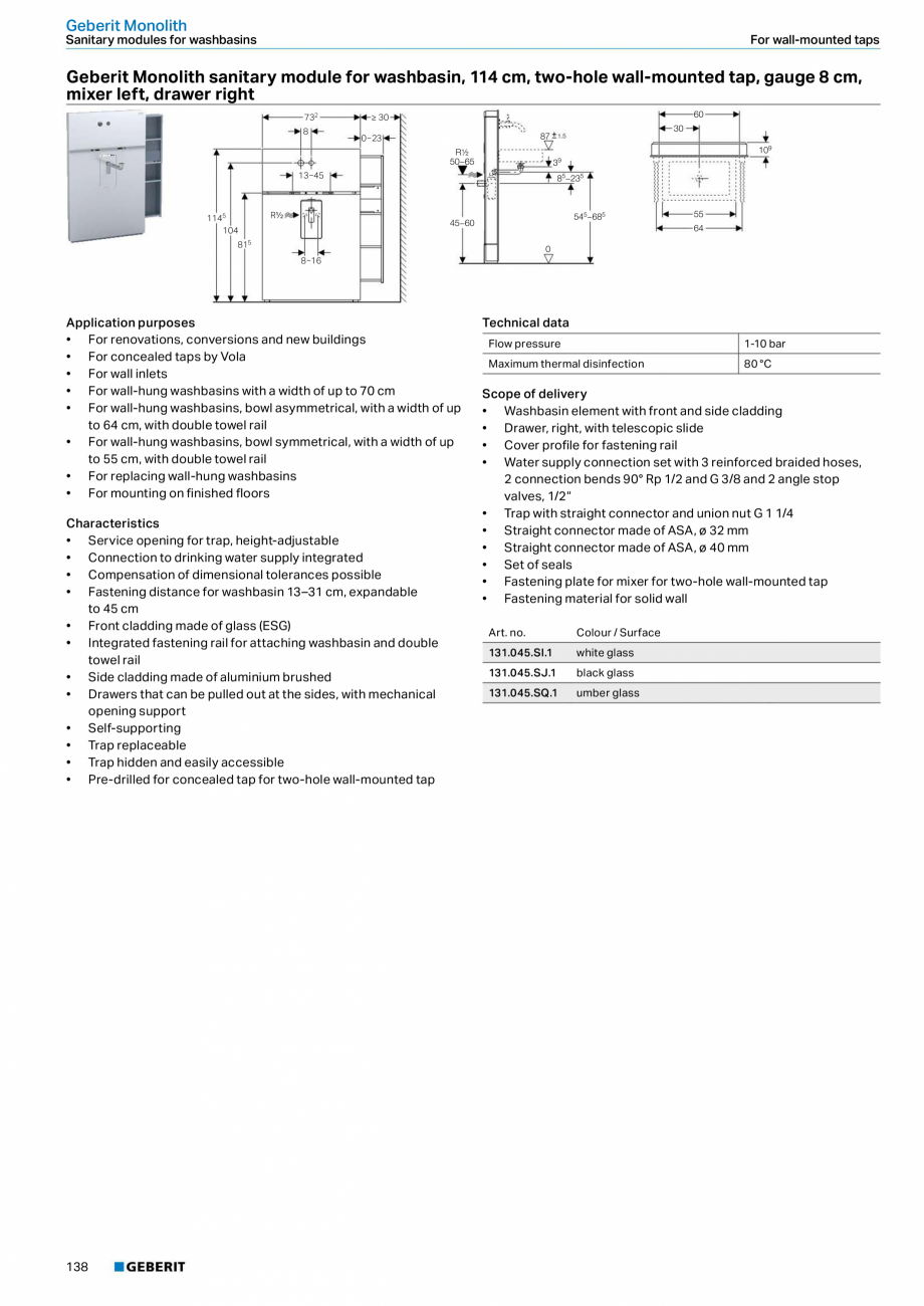 Pagina 22 - Modul sanitar pentru WC GEBERIT Monolith Fisa tehnica Engleza DM, ø 44/55 mm •...