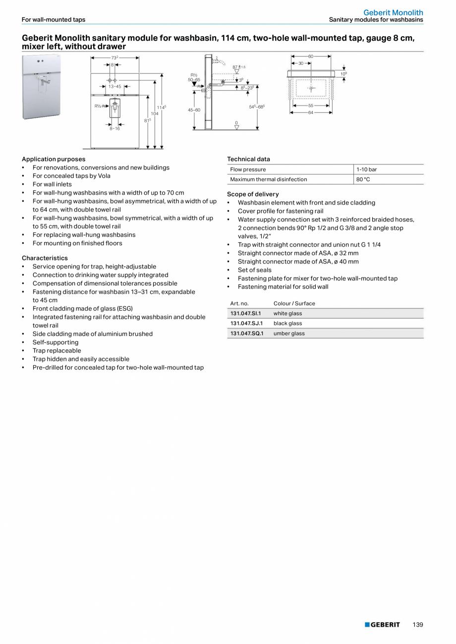 Pagina 23 - Modul sanitar pentru WC GEBERIT Monolith Fisa tehnica Engleza �� Fastening height WC...