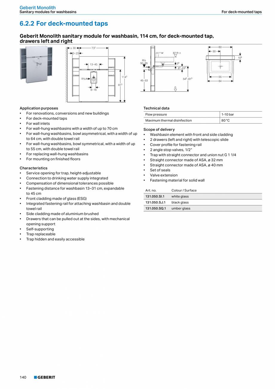 Pagina 24 - Modul sanitar pentru WC GEBERIT Monolith Fisa tehnica Engleza adjustment range  4.5 / 6 ...
