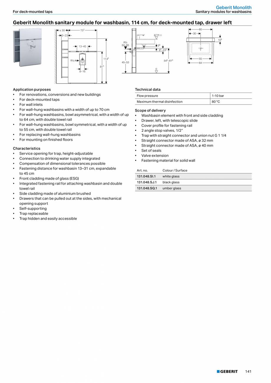 Pagina 25 - Modul sanitar pentru WC GEBERIT Monolith Fisa tehnica Engleza  the rear centre 505  106 ...