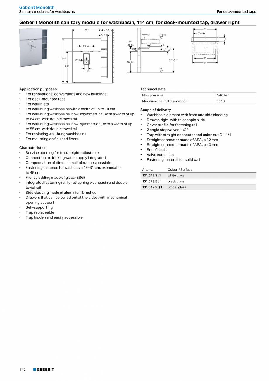 Pagina 26 - Modul sanitar pentru WC GEBERIT Monolith Fisa tehnica Engleza ctory setting  6 and 3 l  ...