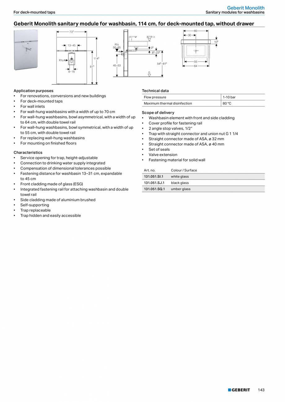 Pagina 27 - Modul sanitar pentru WC GEBERIT Monolith Fisa tehnica Engleza ht connector, water supply...