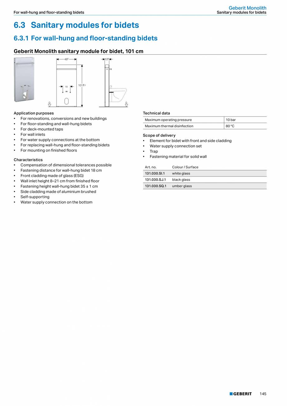 Pagina 29 - Modul sanitar pentru WC GEBERIT Monolith Fisa tehnica Engleza DM, ø 44/55 mm •...