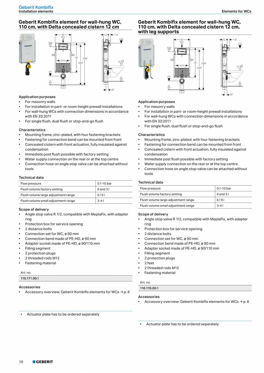 Pagina 6 - Sistem de instalare incastrat GEBERIT Kombifix Fisa tehnica Engleza and 3 l  3-4 l  Flush...