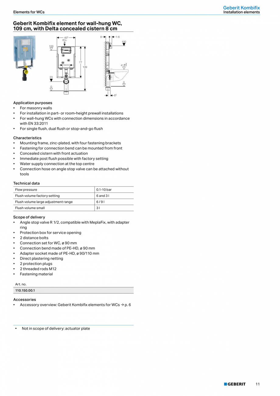 Pagina 7 - Sistem de instalare incastrat GEBERIT Kombifix Fisa tehnica Engleza berit Kombifix...