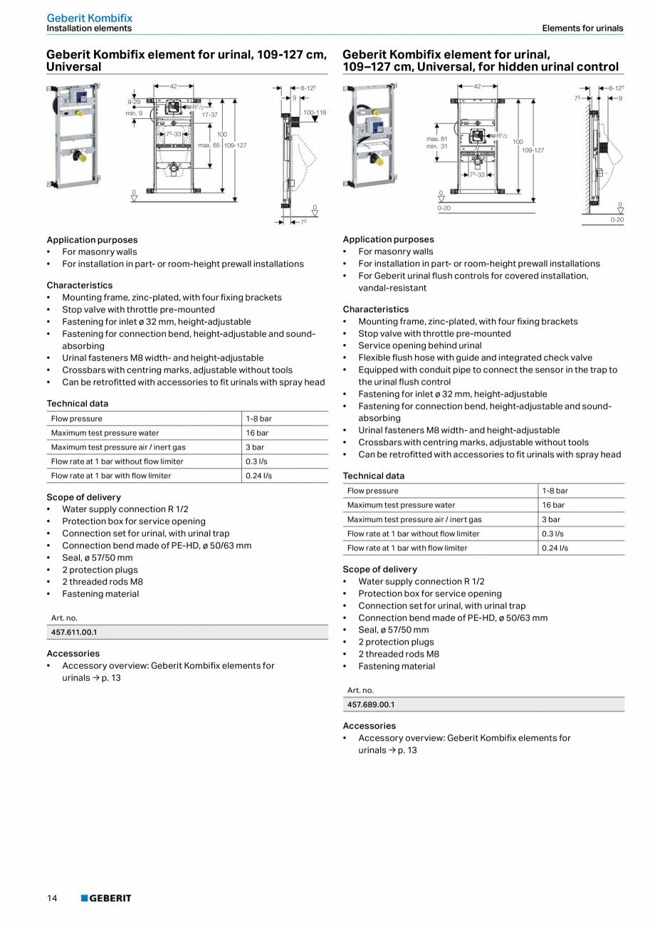 Pagina 10 - Sistem de instalare incastrat GEBERIT Kombifix Fisa tehnica Engleza f delivery • Water...