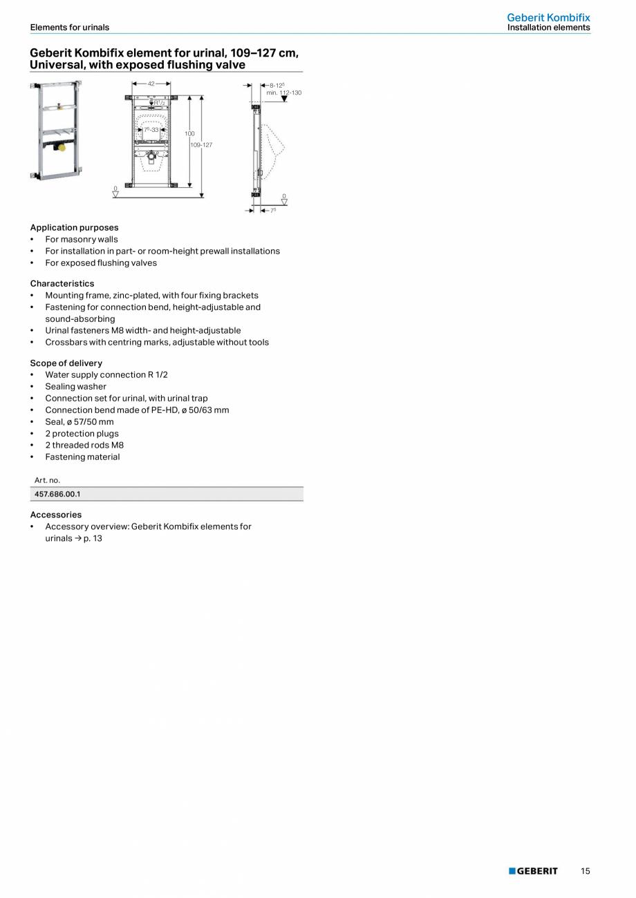 Pagina 11 - Sistem de instalare incastrat GEBERIT Kombifix Fisa tehnica Engleza 18/23 0  5  0  195  ...