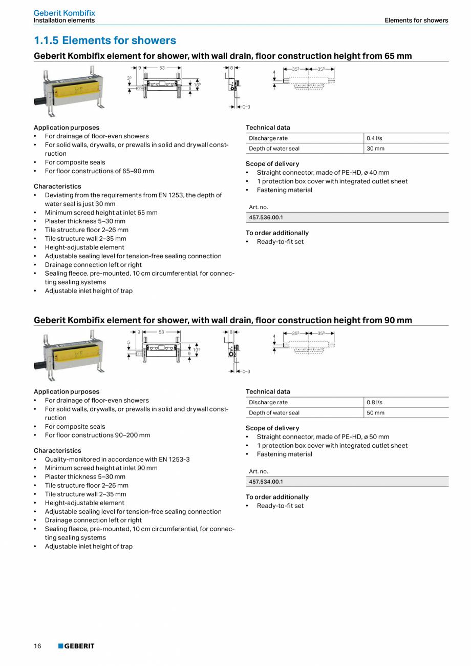 Pagina 12 - Sistem de instalare incastrat GEBERIT Kombifix Fisa tehnica Engleza   Scope of delivery ...
