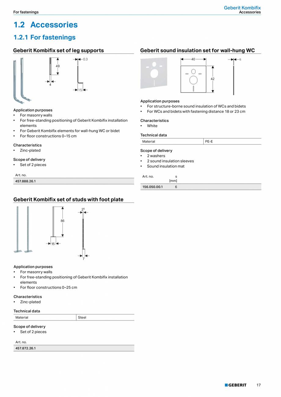Pagina 13 - Sistem de instalare incastrat GEBERIT Kombifix Fisa tehnica Engleza ry setting •...