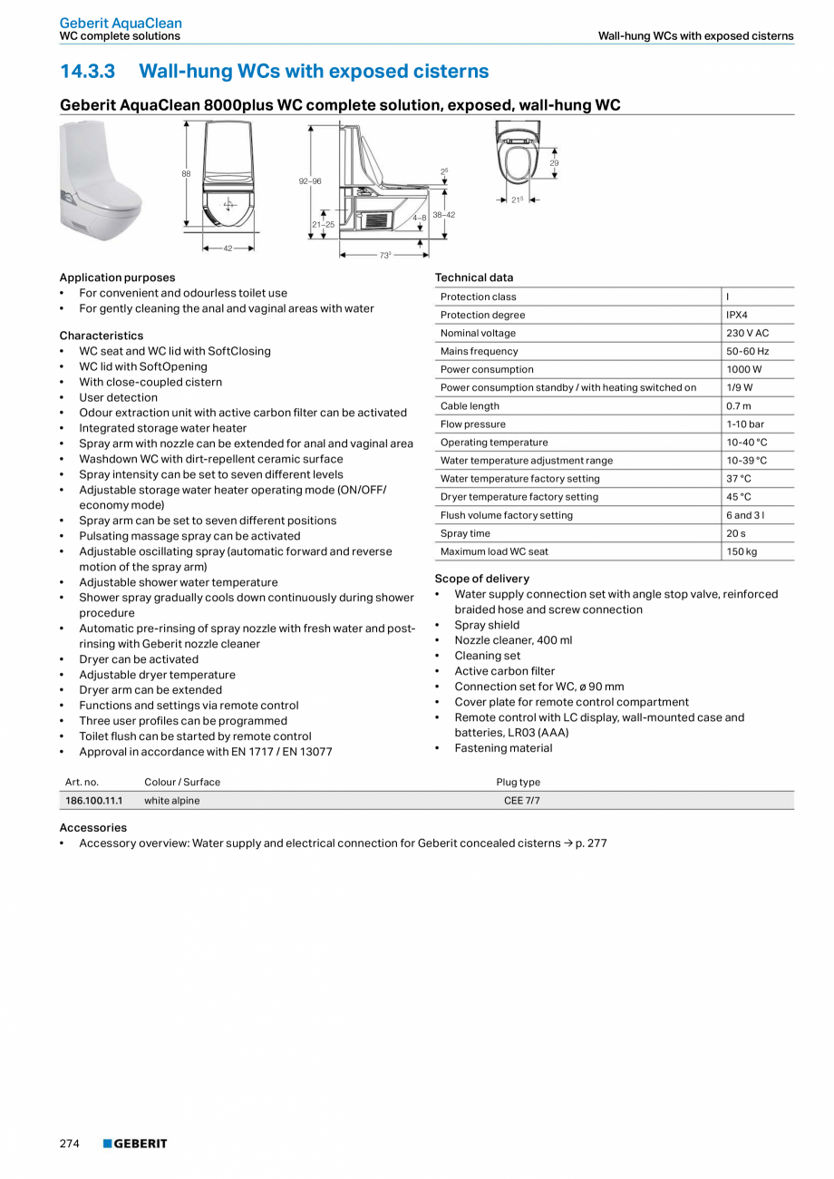 Pagina 10 - Sistem WC GEBERIT AquaClean Fisa tehnica Engleza frequency  50-60 Hz  Power consumption ...