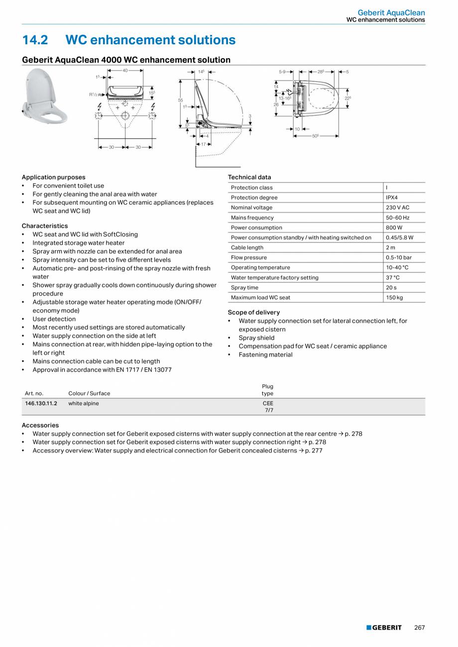Pagina 3 - Sistem WC GEBERIT AquaClean Fisa tehnica Engleza  ü  bahama beige white alpine manhattan...