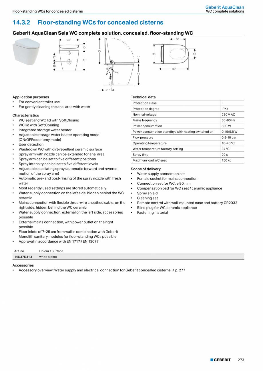 Pagina 9 - Sistem WC GEBERIT AquaClean Fisa tehnica Engleza rea • Spray intensity can be set to...