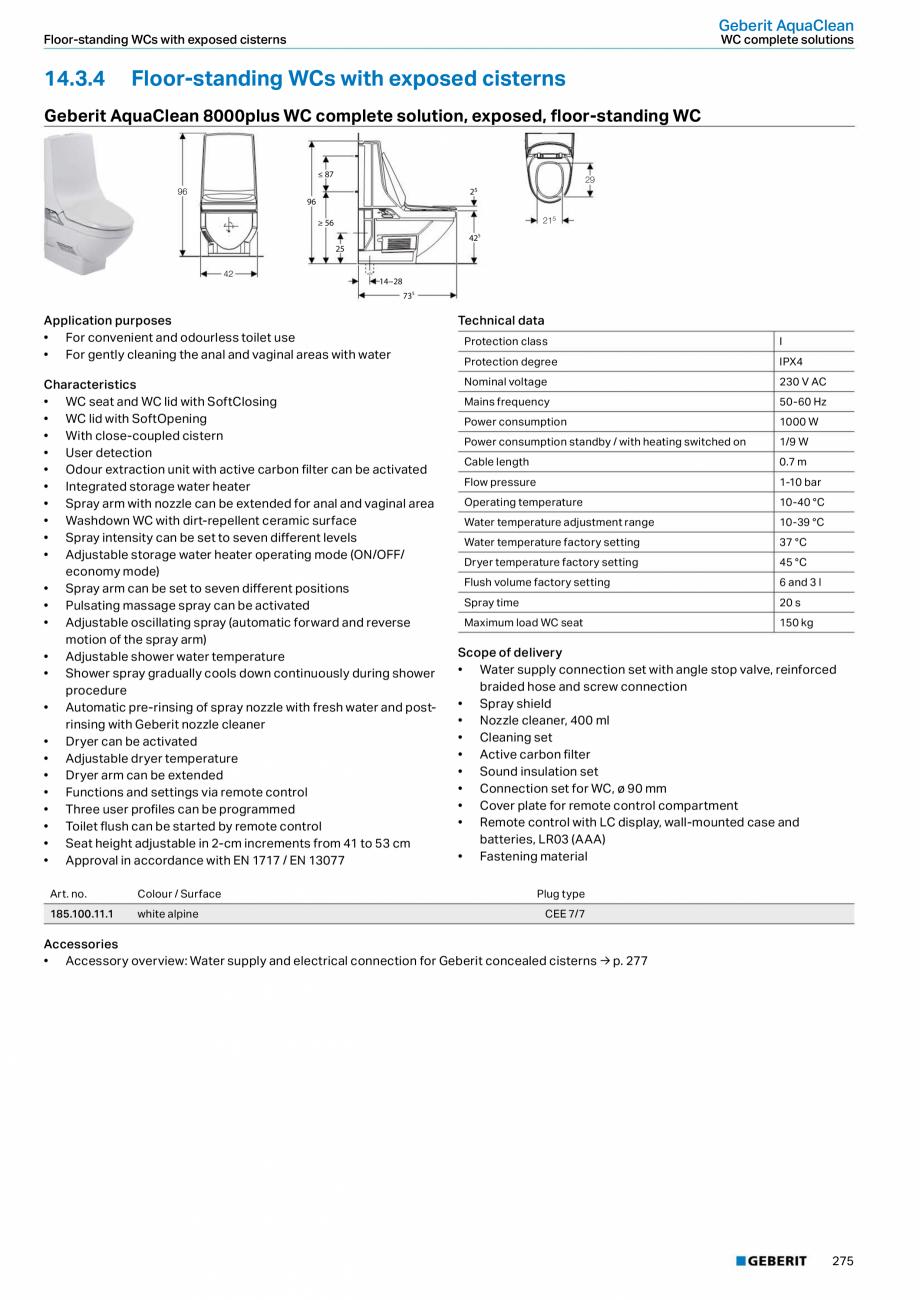 Pagina 11 - Sistem WC GEBERIT AquaClean Fisa tehnica Engleza ection set for Geberit exposed cisterns...