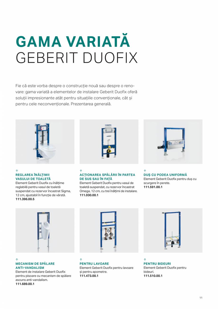 Pagina 11 - Geberit -Sisteme de instalare GEBERIT Kombifix, Duofix, DuoFresh, Monolith, AquaClean...