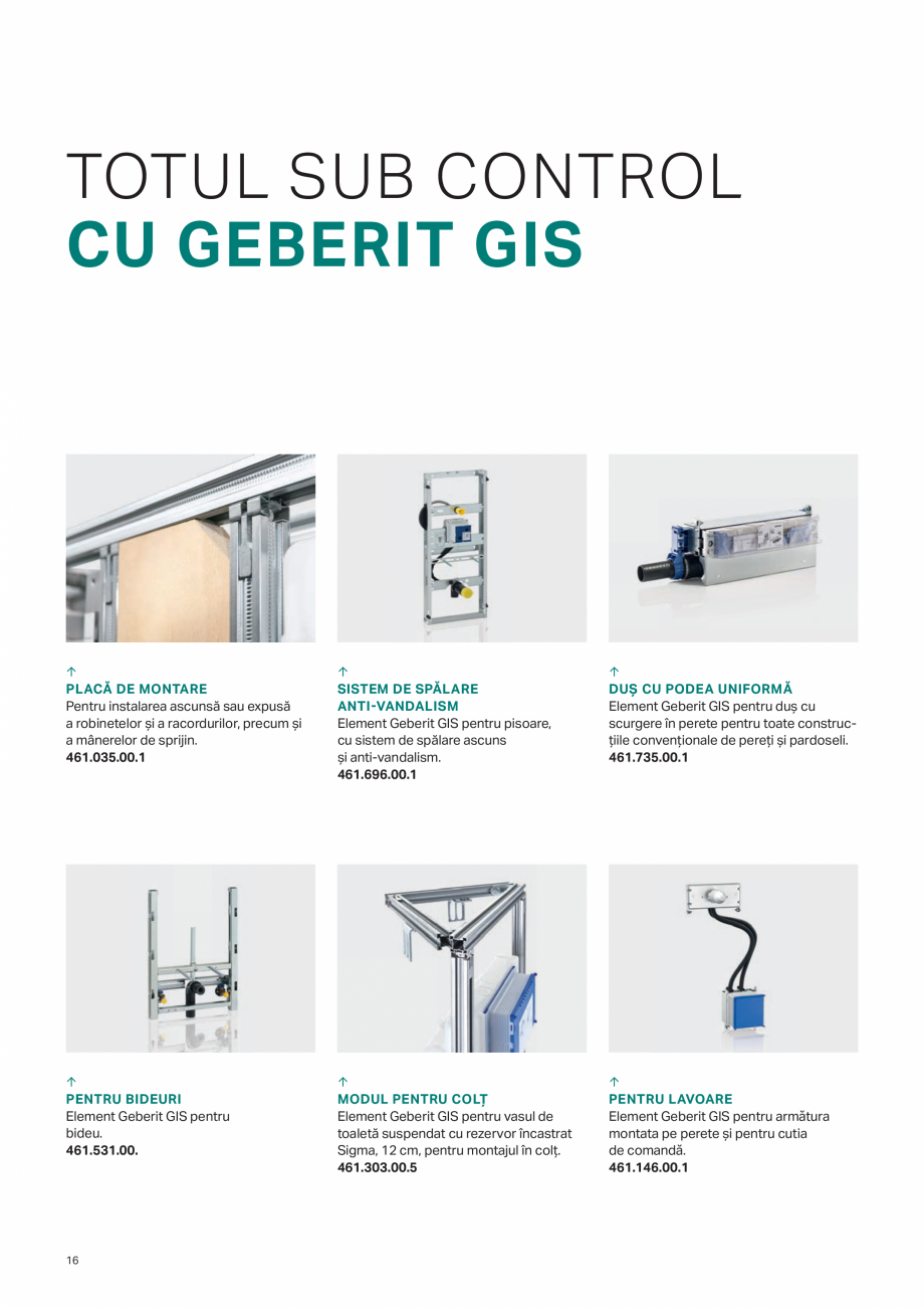Pagina 16 - Geberit -Sisteme de instalare GEBERIT Kombifix, Duofix, DuoFresh, Monolith, AquaClean...