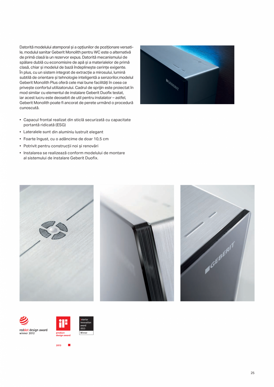 Pagina 25 - Geberit -Sisteme de instalare GEBERIT Kombifix, Duofix, DuoFresh, Monolith, AquaClean...