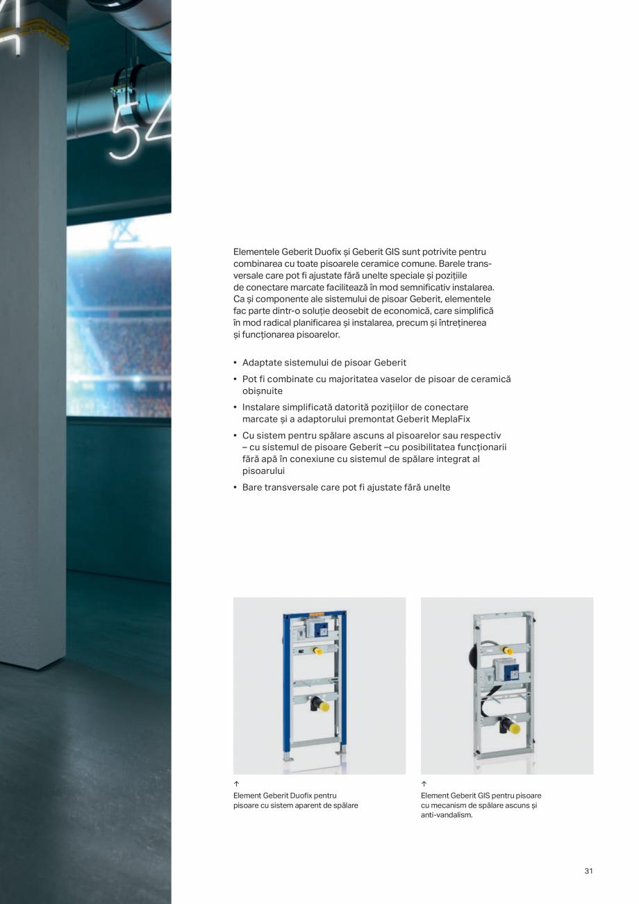 Pagina 31 - Geberit -Sisteme de instalare GEBERIT Kombifix, Duofix, DuoFresh, Monolith, AquaClean...